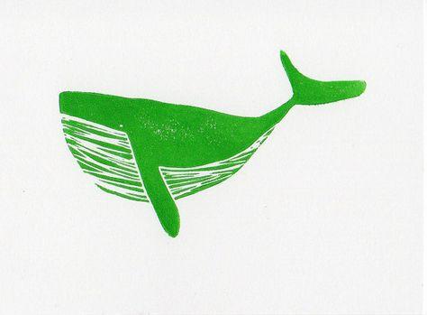 Baleine à bosse Green art de Microsoft linogravure sur bois gravure impression 7 x 5