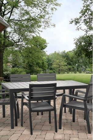 Harmony Dining Table And 6 Chairs By Keter Outdoor Furniture Sets Outdoor Seating Areas Extendable Dining Table
