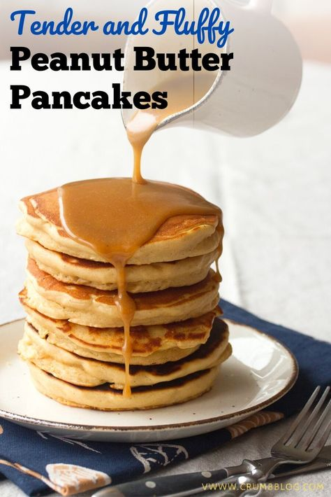 Gourmet brunch at home is easier than you might think, thanks to these thick, fluffy flapjacks. They're made extra delicious with a double dose of peanut butter – it's swirled right into the pancake batter, and stirred into a maple peanut butter syrup that's drizzled on top.
