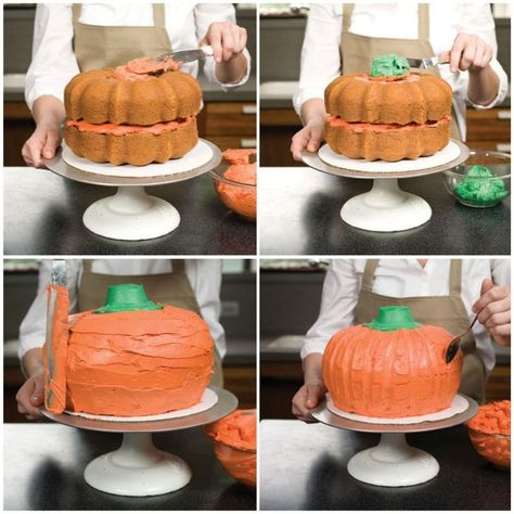 Fear not! Putting together this eye-poppingly orange cake is less trick and more