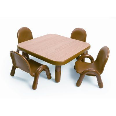 Angeles Baseline Toddler Kids 5 Piece Play Table And Chair Set