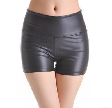 Damen Kunstleder Hohe Taille Shorts