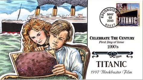 "Titanic first day cover. As part of its Celebrate the Century series, issued between 1998 and 2000, the U.S. Postal Service honored the 1997 movie ""Titanic"" as both the most expensive and highest grossing film of the twentieth century."