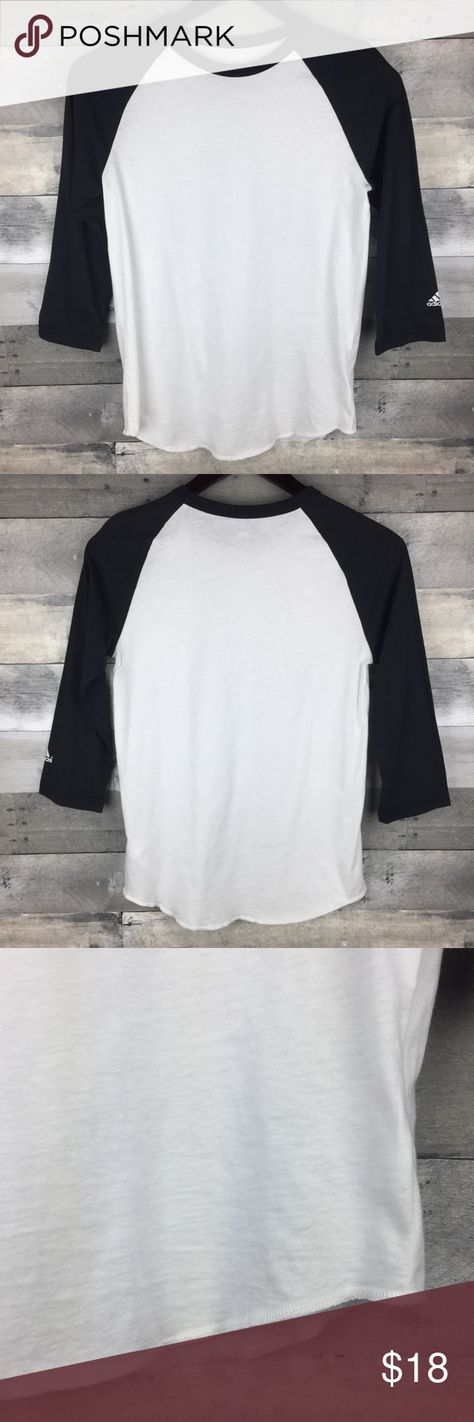"""Adidas Raglan Tee Baseball Tee Black White Basic Adidas Womens Size L Raglan Tee Baseball Tee Black White Basic 3/4 Sleeve  Condition: Excellent used condition Tag Size: L Measurements: Armpit to armpit: 16"""" Length: 25""""  Please follow me for more great items and sweet deals! Thank you for shopping! adidas Tops"""