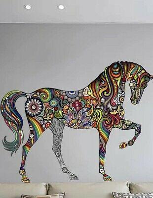 "NEW Large Colorful Mandala Pattern Horse Wall Art Decor Decal Sticker 32""x26"""