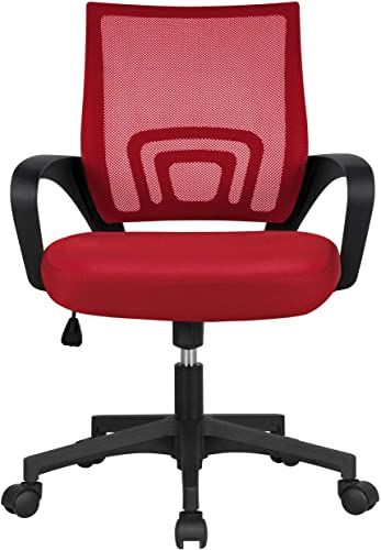 New Yaheetech Ergonomic Mesh Office Chair Mid Back Height Adjustable Computer Chair W Lumbar Support 360 Rolling Casters 276lb Weight Capacity Red Online Sho In 2020 Mesh Office Chair Office Chair Adjustable