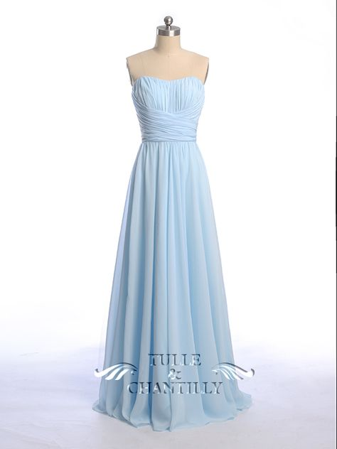 Blue and White Wedding Ideas - Floor Length Sweetheart Neck Light Sky Blue Bridesmaid Dresses 2