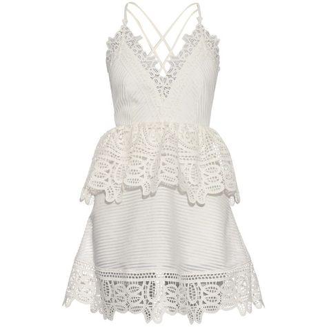 3e44aa6dd4a0 Self-portrait Lace-peplum open-back dress ($248) ❤ liked on Polyvore  featuring dresses, self-portrait, white dress, white open back dress, lace  cocktail ...