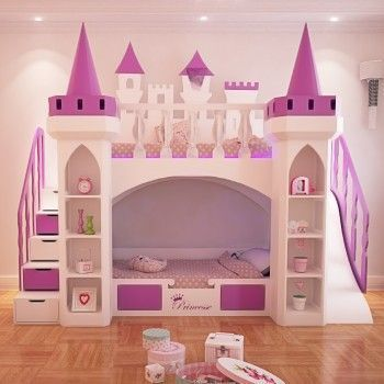 Made To Order Luxury Purple Princess Castle Bunk Bed With Drawer