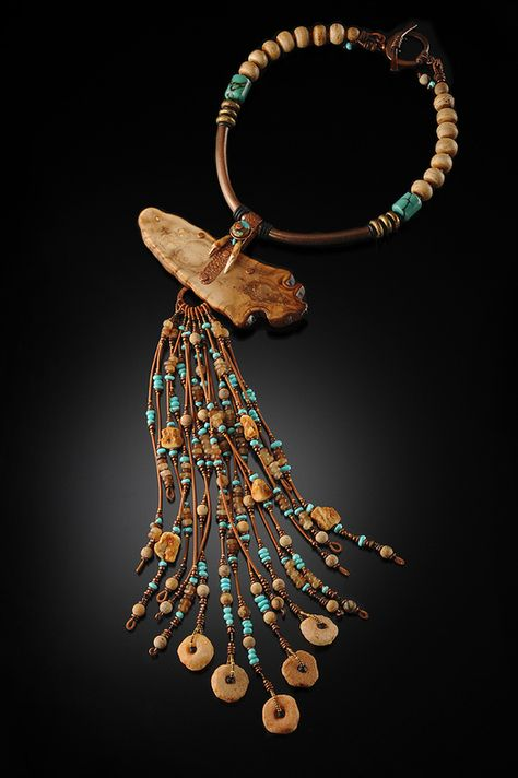 New Artifacts - Jaws Chris Carlson studio Fossil walrus jawbone cross-section with flowing fringe of turquoise, Baltic amber, horn, mali stones. New Artifacts - African Jewelry, Tribal Jewelry, Leather Jewelry, Boho Jewelry, Jewelry Crafts, Jewelry Art, Beaded Jewelry, Jewelery, Jewelry Necklaces
