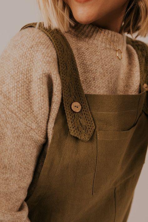 Holmes Linen Overalls - DarkOliveGreen / S