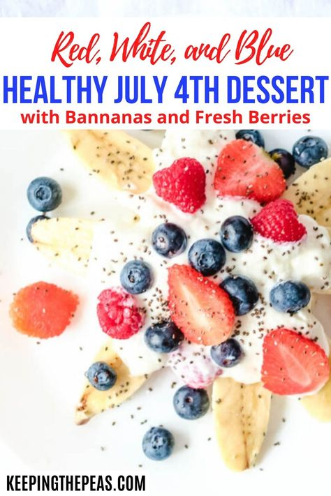This healthy Independence Day Dessert idea is perfect for your Fourth of July celebration! It's got the red, white, and blue colors! This quick and easy treat takes only 5 minutes. All you need are fresh bananas, strawberries, raspberries, and blueberries, and a bit of yogurt, or whipped cream! YUM!!
