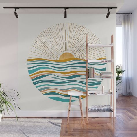 The Sun And The Sea - Gold And Teal Wall Mural Decal by Moderntropical - X Wall Mural Decals, Mural Art, Painted Wall Murals, Sea Murals, Kids Wall Murals, Hand Painted Walls, Bedroom Wall, Bedroom Decor, Bedroom Murals