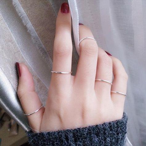 Set of stacking rings set silver,bohemian rings,stacking rings set,cute rings-midi ring set-stack Hand Jewelry, Cute Jewelry, Silver Jewelry, Gold Jewellery, Jewelry Ideas, Jewellery Shops, Jewellery Supplies, Jewellery Making, Pandora Jewelry