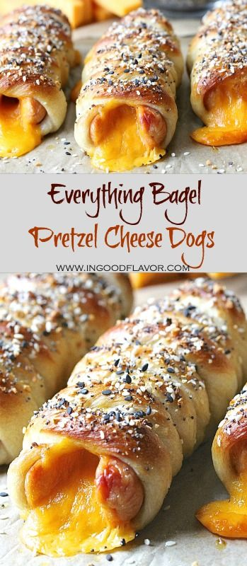 Store bought pizza dough is turned into everything bagel pretzels for these delicious cheesy hot dogs. They are perfect for lunch, snack, or make them mini size for a great appetizer! #everythingbagel #pretzel #pretzeldog #hotdog #cheeesedog