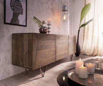 Designer Sideboard Wyatt 175 Cm Akazie Braun 3 Turen Edelstahl