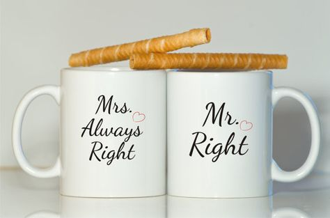 Mr right Mrs always right mug-Gift for wife-Gift for husband-Wedding gift-Wedding favor-Wedding mug-Mr mug-Mrs mug-Mugs for wedding-Mr-Mrs