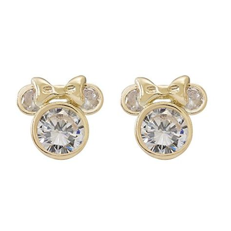 Disney Women S And Girls Jewelry Minnie Mouse 10k Yellow Gold Cubic Zirconia Stud Earrings Official Licensed Disney Wo With Images Jewelry Stud Earrings Earrings