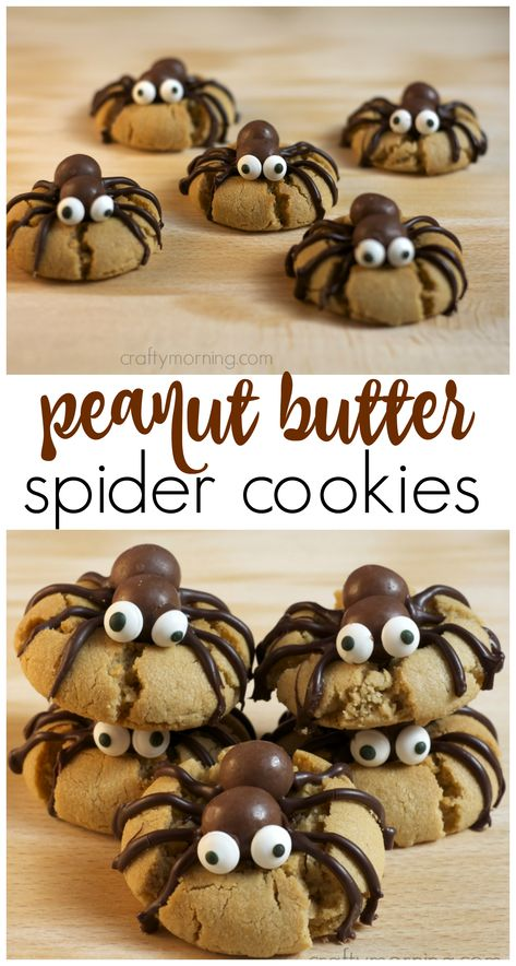 Make peanut butter spider cookies for a halloween treat! A fun halloween dessert. Make peanut butter spider cookies for a halloween treat! A fun halloween dessert thats easy enough for the kids to m Bolo Halloween, Postres Halloween, Dessert Halloween, Halloween Goodies, Halloween Food For Party, Spooky Halloween, Halloween Decorations, Halloween Brownies, Easy Halloween Snacks