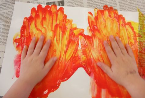 """FInger paint """"fire"""" and then put the reminder """"Don't hide, GO OUTSIDE!"""""""
