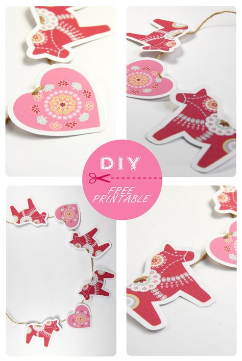 FREE printable horse and heart garland (- cute for nursery ! )