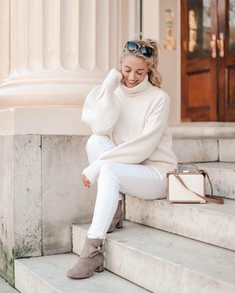 "Josie // Fashion Mumblr on Instagram: ""Forever trying to bring white jeans back into fashion 🙊 There's a new feature up on www.fashionmumblr.com all about elevating your winter…"""