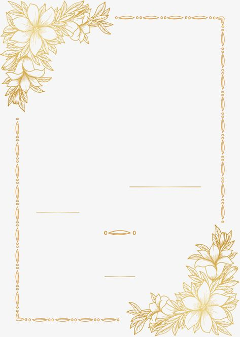 Golden hand-painted flower border, Vector Png, Gold Paper, Golden Pattern PNG and Vector