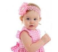 Bandeau bébé/fille, modèle Marguerite rose clair