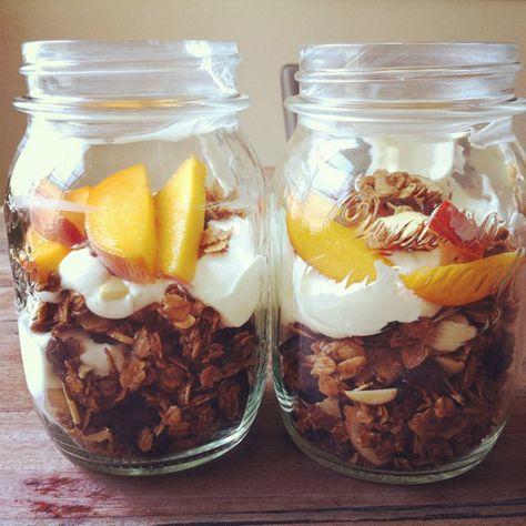Granola, Yogurt, and Peach Parfaits in Mason Jars.