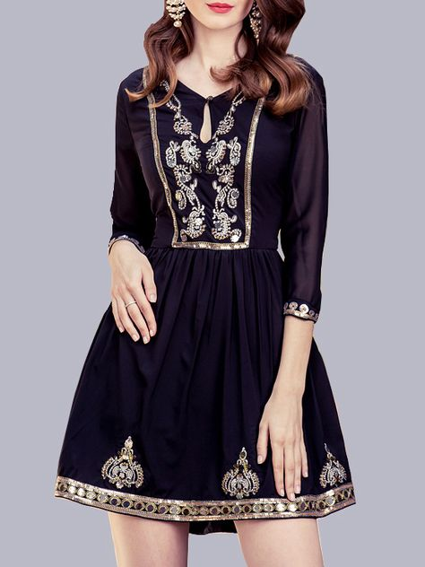 SheIn offers Navy Hollow Embroidered Beading Dress & more to fit your fashionable needs.