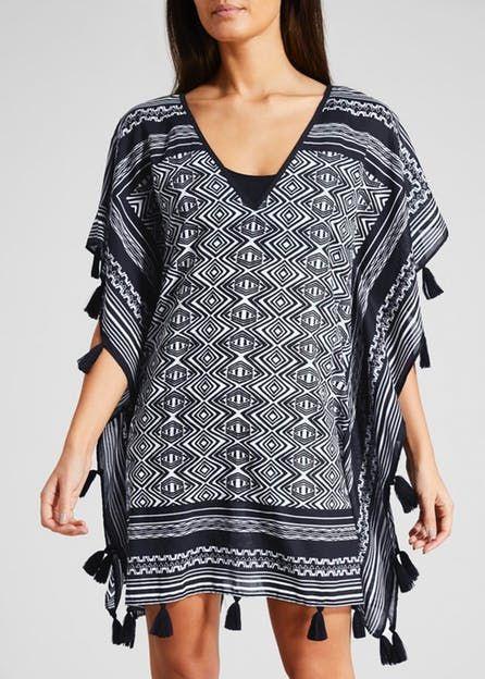 Custom Pattern Swimwear Maxi Kaftan Cover Up with Tassel Trim for Women