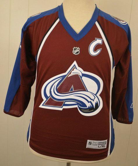13607cc55 Reebok Colorado Avalanche Jersey  19 Joe Sakic NHL Hockey Sweater Youth  Large XL  Reebok  ColoradoAvalanche