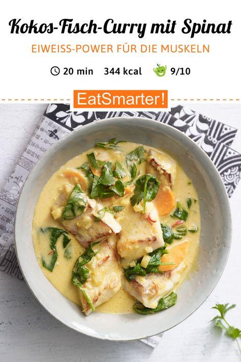 Seelenwärmer: Kokos-Fisch-Curry mit Blattspinat - kalorienarm - schnelles Rezept - einfaches Gericht - So gesund ist das Rezept: 9,5/10 | Eine Rezeptidee von EAT SMARTER | Eiweißreich, Eiweißreiche Gerichte mit Fisch, Low Carb, Low Carb Eintöpfe, Schnelle Low Carb-Rezepte, Low Carb Abendessen, Low Carb Mittagessen, Low Carb-Fischrezepte, Low Carb-Suppen, Curry, Fischcurry, Asien, Indisch, Mittagessen, Abendessen #singleküche #gesunderezepte