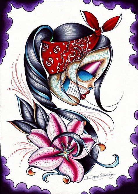 Stargazer Dave Sanchez Rockabilly Sugar Skull Tattoo Canvas Art Print – moodswingsonthenet
