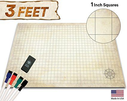 Battle Grid Game Mat 24 X 36 Table Top Role Playing Map Dnd Role Play Rpg Dungeons And Dragons Maps Tiles Reusab Grid Game Dungeons And Dragons Dnd