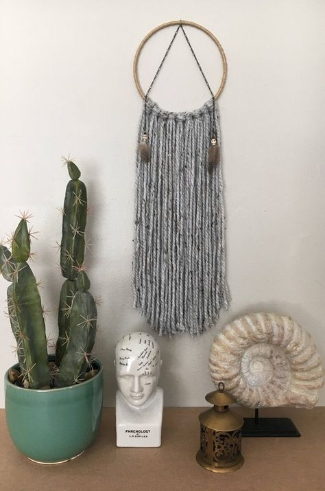 Unique Modern Grey Macrame Dreamcatcher Wall Hanging Boho Gift for Her with Skull Beads and Feathers