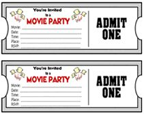 Movie Ticket Birthday Invitations Free Printable  Party Time