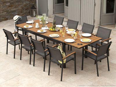 Salon De Jardin Aluminium Gris Et Composite Bois 1 Table Extensible 180 280cm Assises Salon De Jardin Aluminium Salon De Jardin Table Et Chaises De Jardin