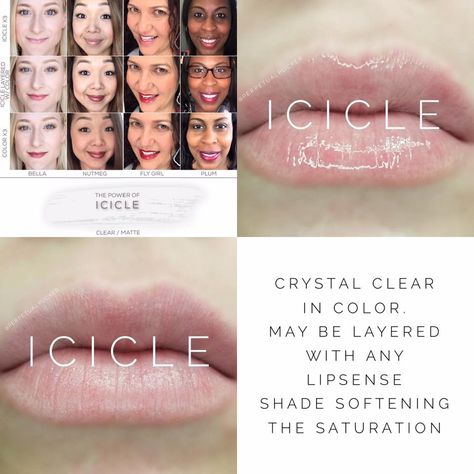 Icicle LipSense lipstick - clear and perfect for lightening up any other LipSense shade! Lasts 4-18 hours, and is smudge-proof, vegan, and cruelty free!