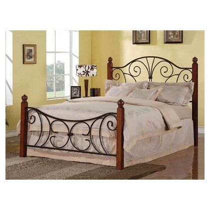 Classic Wood and Wrought Iron King Size Poster Bed Headboard ...