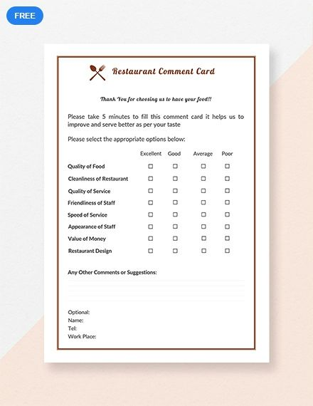 Free Restaurant Comment Card Templates Printable Free Card