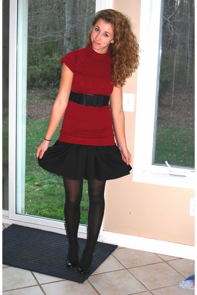 Black dress with red sweater