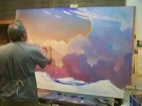 How To Paint Landscape Cloud sky Painting Demonstration HAWKINS demo