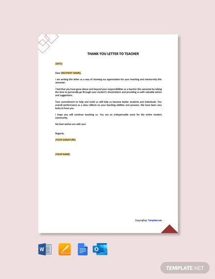 Thank You Letter Template To Teacher From College Student Free Pdf Word Apple Pages Google Docs Thank You Letter Letter To Teacher Thank You Letter Template
