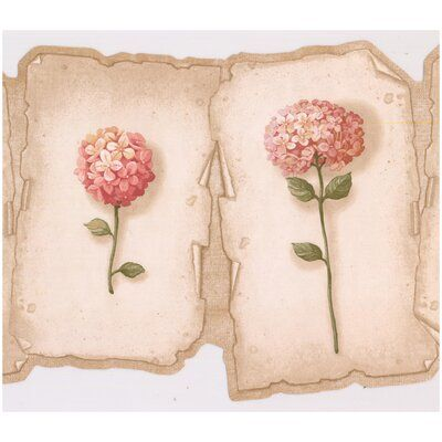 Ophelia Co Nicole Hortensia Flowers On Plaques Scalloped 15 L X 9 W Wallpaper Border In 2021 Retro Art Prepasted Wallpaper Wallpaper Border