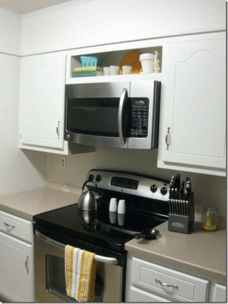 Installing A Microwave Above Range Where There Is A Cabinet Microwave Shelf Condo Kitchen Kitchen Stove