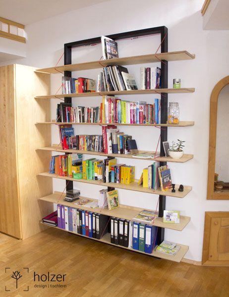 Freitragendes Bücherregal aus Birkensperr und Buchenholz