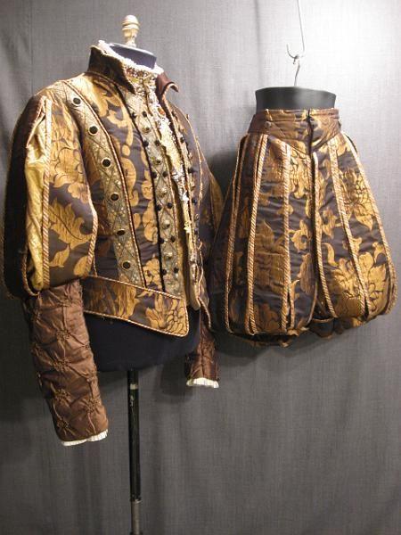 XL Mens Elizabethan Tudor Shakespeare Renaissance Doublet Slops//Breeches Hat S