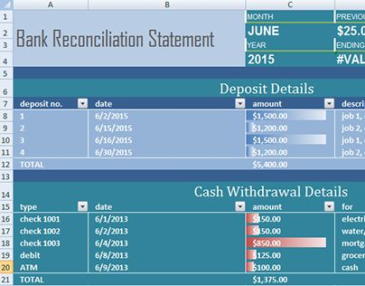 Check out new work on my @Behance portfolio  - bank reconciliation statement template