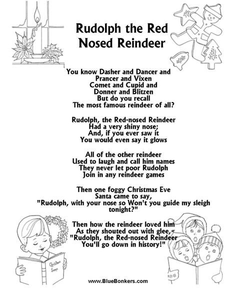 image regarding Lyrics Rudolph the Red Nosed Reindeer Printable titled Printable Xmas Carol Lyrics sheet : Rudolph the Purple